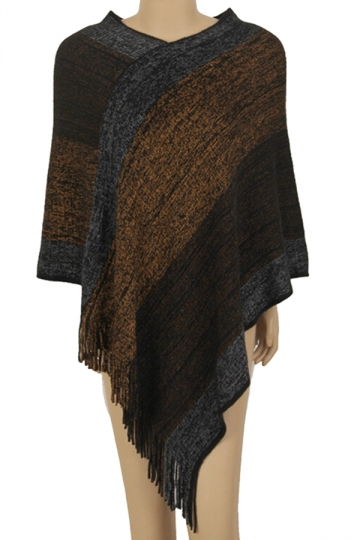 Women Color Block Irregular Fringe Poncho Brown