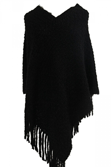 Women Contrast Color Fringe Hem Poncho Black