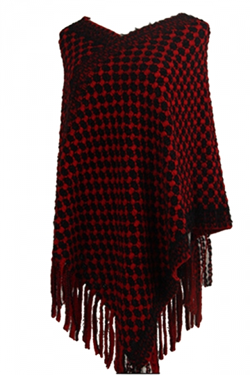 Women Contrast Color Fringe Hem Poncho Red
