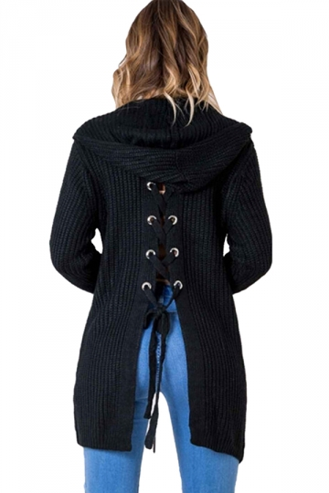 Women Casual Hooded Lace Up Back Pocket Plain Cardigan Black