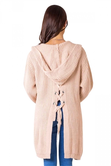 Women Casual Hooded Lace Up Back Pocket Plain Cardigan Pink