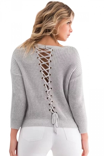 Women V Neck Lace Up Hollow Out Back Pullover Sweater Gray