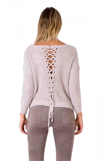 Women V Neck Lace Up Hollow Out Back Pullover Sweater Pink