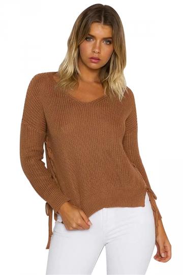 Women V Neck Side Split Lace Up Loose Sweater Ginger