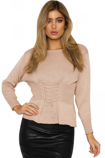 Women Casual Lace Up Long Sleeve Plain Loose Sweaters Apricot