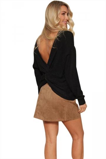 Women Sexy V Neck Twist Detail Long Sleeve Sweater Black