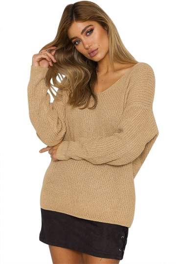 Women Sexy V Neck Twist Detail Long Sleeve Sweater Khaki