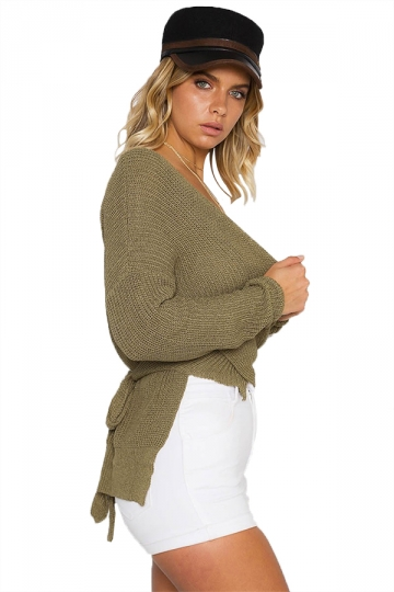 Women Sexy V Neck Cross Bandage Long Sleeve Plain Sweater Army Green