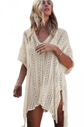 Women Sexy Knit Loose Side Split Beach Wear Dress Apricot