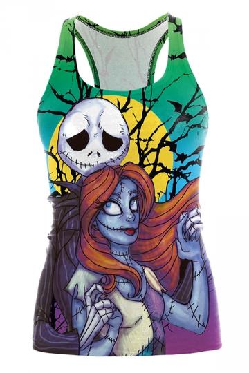 Skull Girl Printed Halloween Tank Top Black