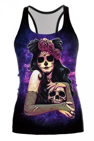 Dama De La Muerte Printed Halloween Tank Top Purple