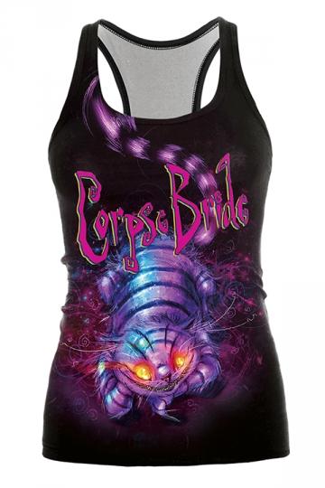 Cheshire Cat Printed Halloween Tank Top Black