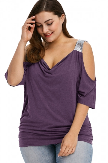 Women Plus Size Cold Shoulder Sequin Pleated T-Shirt Purple