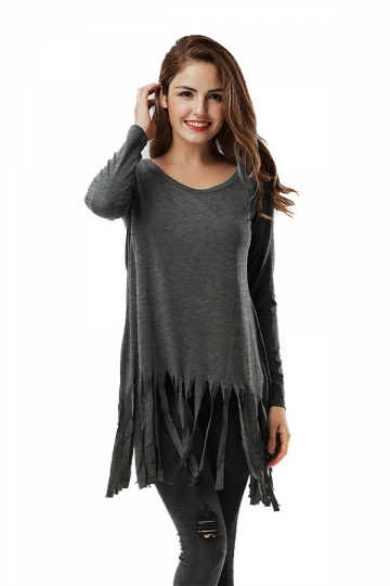 Women Plain Fringe Hem Long Sleeve Loose T-Shirt Dark Gray