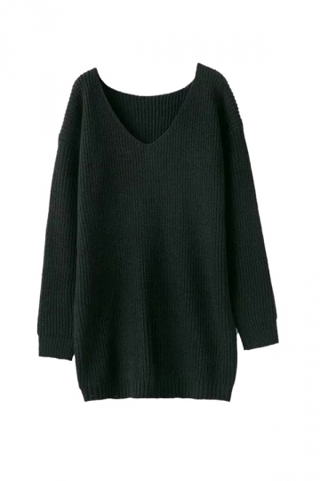 Women V Neck Oversized Knit Sweater Dress Top Black - PINK QUEEN
