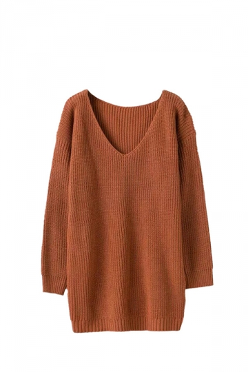 Women V Neck Oversized Knit Sweater Dress Top Camel - PINK QUEEN