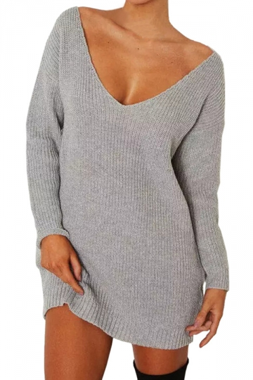 Women V Neck Oversized Knit Sweater Dress Top Gray - PINK QUEEN