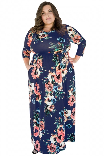 Womens Plus Size Floral Printed Tunic Long Sleeve Maxi