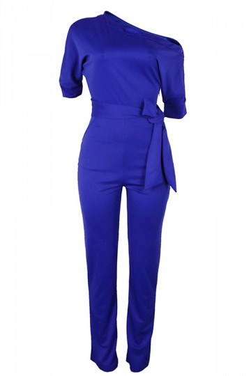 Women Sexy One Shoulder Belt High Waist Jumpsuit Sapphire Blue