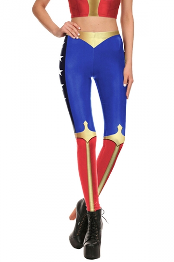 Wonder Woman Halloween Costume Leggings Blue - PINK QUEEN
