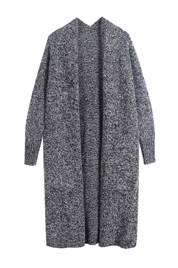 Women Collarless Long Sleeve Pocket Open Cardigan Dark Gray - PINK ...