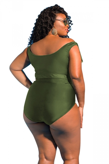 Women Sexy Ruffle Cross String Hollow Out 2Pcs Swimsuit Army Green