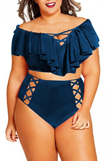 Women Sexy Ruffle Cross String Hollow Out 2Pcs Swimsuit Navy Blue