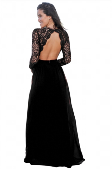 Womens V-Neck Long Sleeve Lace Backless Maxi Evening Dress Black