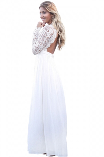 Womens V-Neck Long Sleeve Lace Backless Maxi Evening Dress White