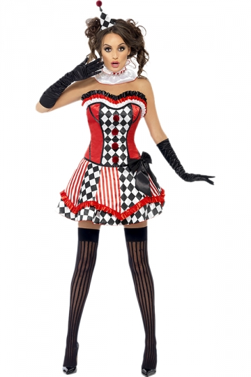 Womens Sexy Harley Quinn Clown Circus Halloween Costume Red - PINK ...