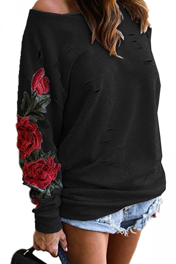 Womens One Shoulder Cut Out Embroidered Printed Sweatshirt Black