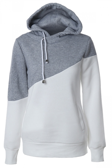 Womens Drawstring Pocket Color Block Patchwork Plain Hoodie Gray
