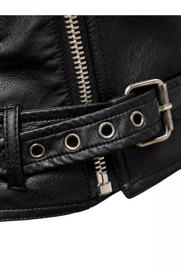 Womens Sexy Off Shoulder Zipper Belt Studded Leather Jacket Black