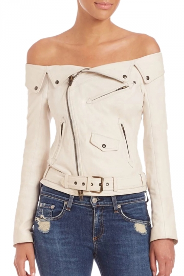 Womens Sexy Off Shoulder Zipper Belt Studded Leather Jacket White