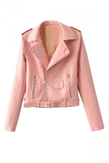 Womens Turndown Collar Epaulet Zipper Belt Leather Jacket Pink