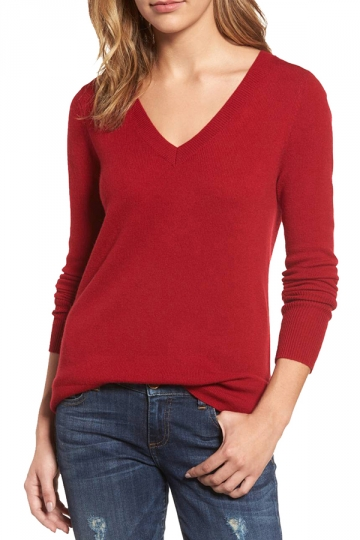Womens V-Neck Long Sleeve Plain Pullover Sweater Red - PINK QUEEN