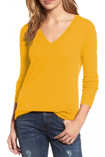 Womens V-Neck Long Sleeve Plain Pullover Sweater Yellow - PINK QUEEN