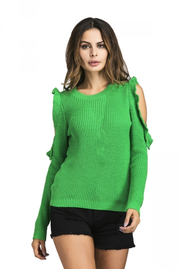 Womens Sexy Cold Shoulder Ruffle Plain Pullover Sweater Green ...