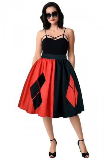 Womens Contrast Color Geometric Pattern Printed Pleated Skirt Black