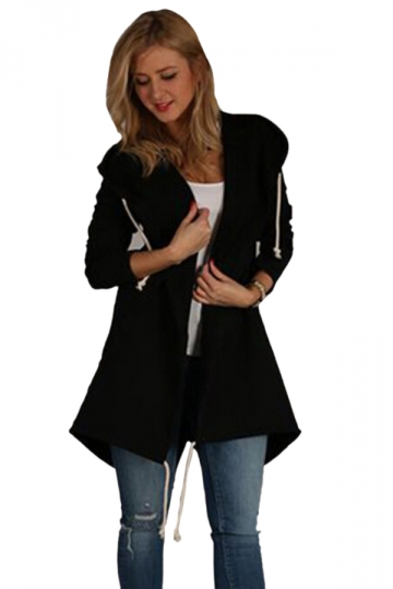 Womens Casual Drawstring Slant Pockets Hooded Plain Trench Coat Black