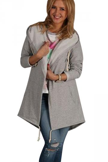 Womens Casual Drawstring Slant Pockets Hooded Plain Trench Coat Gray