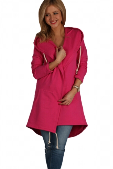 Womens Drawstring Slant Pockets Hooded Plain Trench Coat Rose Red
