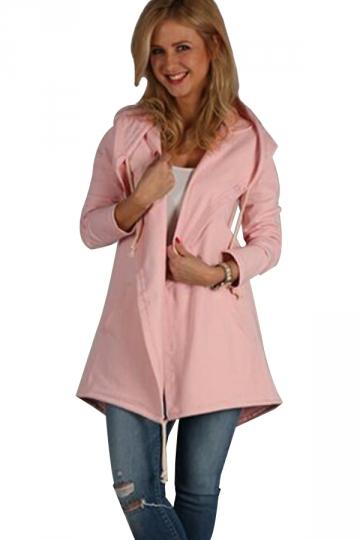 Womens Casual Drawstring Slant Pockets Hooded Plain Trench Coat Pink