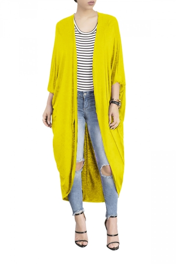 Womens Long Sleeve Asymmetrical Hem Maxi Plain Cardigan Yellow ...