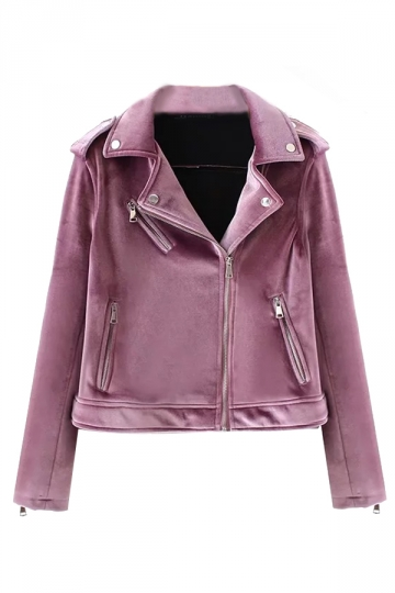 Womens Trendy Turndown Collar Zipper Studded Short Biker Jacket Purple