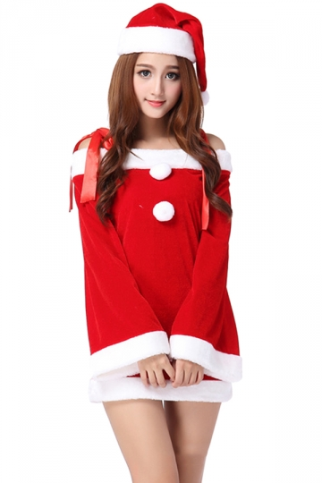 Cute Girl Bowknot Straps Long Bell Sleeve Christmas Santa Costume Red