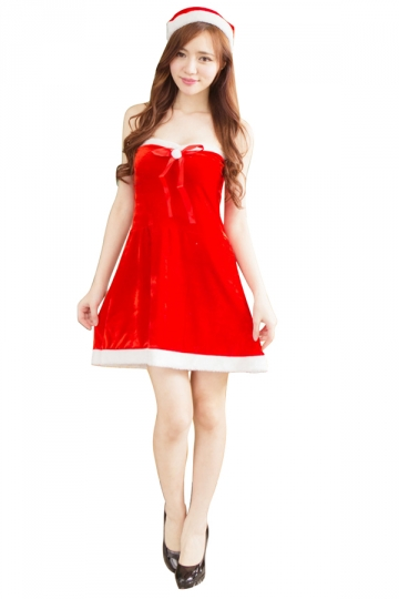 Sexy Off Shoulder Corset Bowknot Dress Christmas Santa Costume Red
