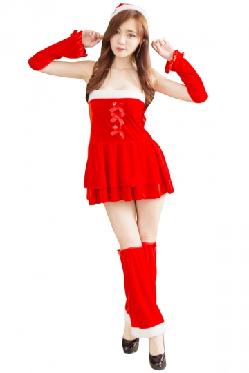 Red Sexy Off Shoulder Corset Mini Dress Christmas Mrs Santa Costume