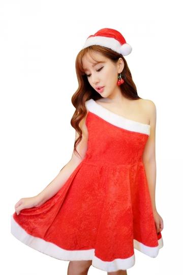 Sexy One Shoulder Sleeveless Skater Dress Christmas Santa Costume Red