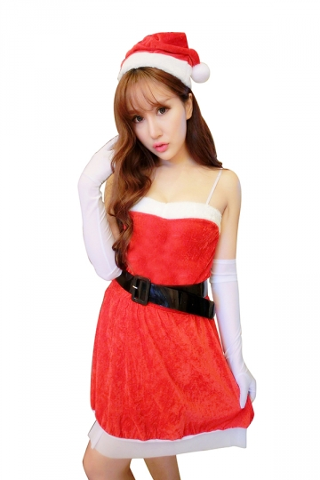 Spaghetti Straps Corset Skater Dress Belt Christmas Santa Costume Red